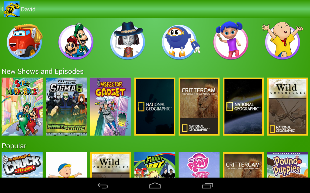Kidoodle.TV Home Screen in Green on Android