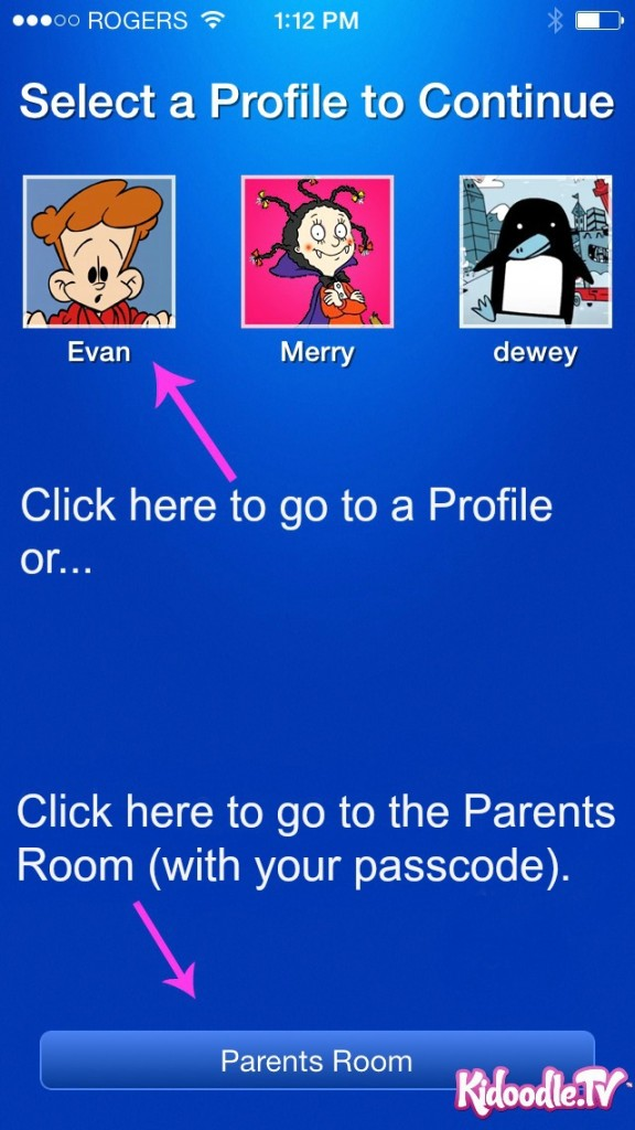 Kidoodle.TV iOS App Profiles and Parents Room