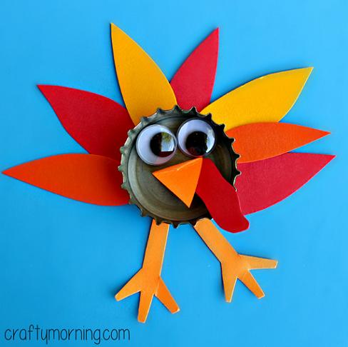 bottle-cap-turkey-craft-for-kids-