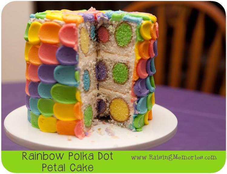 RainbowPolkaDotPetalCake