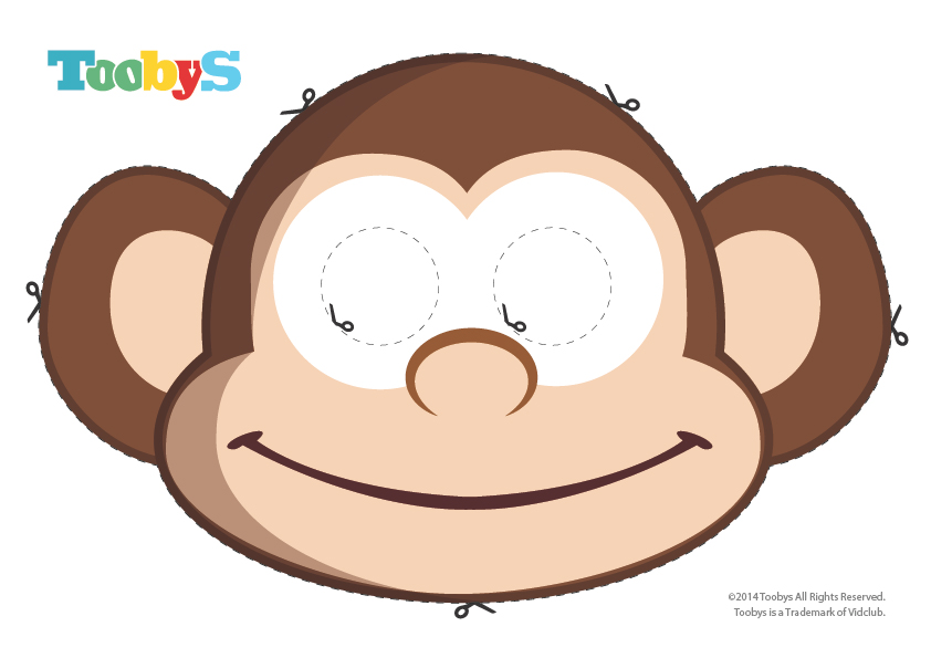 sock monkey face template - printable monkey masks design templates