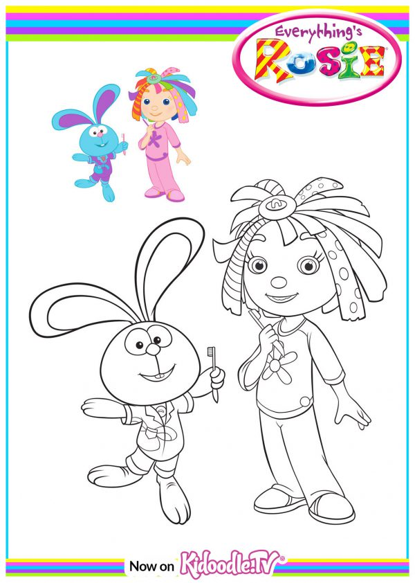 Colouring Sheet - Rosie and Raggles - Pyjamas