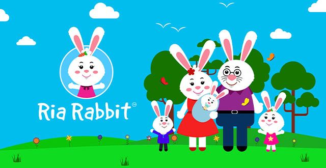 Animated family of rabbits, trees in the background, green grass