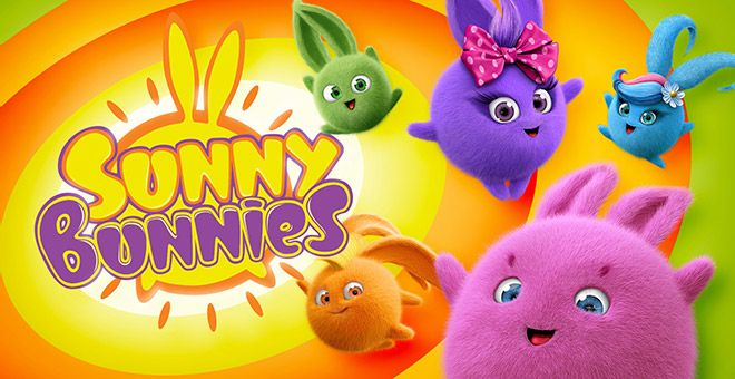 5 colorful round bunnies