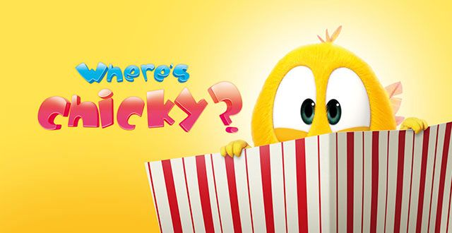Animated chick in a popcorn bucket